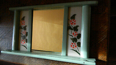 Antique Primitive Old Hand Painted Wooden Wall Hanging Mirror Rustic Style 3