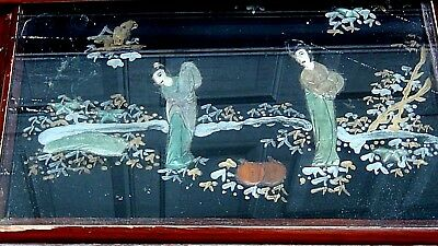 Set Of 4 Antique Chinese Painting & Stone,jade Imlayed Nesting Tables,glass Top 7