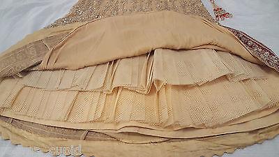 New Womens Cream Gold Maroon Wedding Dress Indian Pakistani Asian Small 12