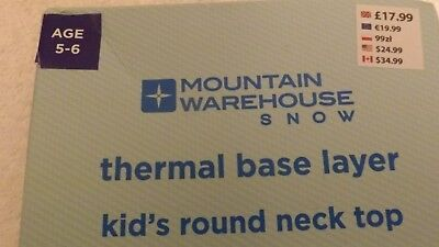 MOUNTAIN WAREHOUSE SNOW Thermal Base Layer Kid's Round Neck Top Size 5-6yrs BLUE 2