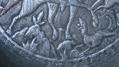 Antique 18C  Islamic Relief Bowl Depicts Persian Sultan Fighting With The Lion 6