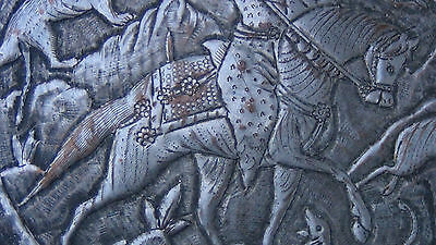 Antique 18C  Islamic Relief Bowl Depicts Persian Sultan Fighting With The Lion 5