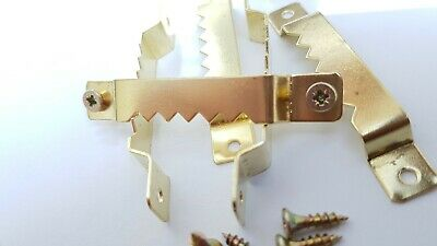 10 Sawtooth Picture Hanger Canvas Frames 63mm Brassed With Screws 10