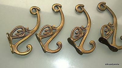 """4 hall stand COAT HOOKS door solid brass antiques vintage old style 5"""" hook B 2"""
