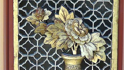 ANTIQUE 19c CHINESE LARGE ROSEWOOD CARVED PIERCED  PANEL PLAQUE VASE W/ FLOWERS 7