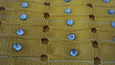 NIGERIAN Aso Oke Gele (Headtie) Yellow & Silver with Stones on last Strip - 1 Pc 2
