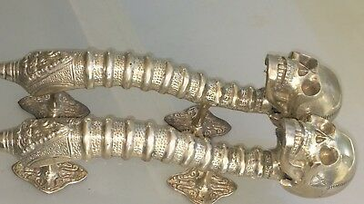 2 large SKULL head handle DOOR PULL spine SILVER BRASS old vintage style 33 cm B 3
