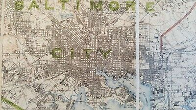 LARGE MARYLAND MAP - BALTIMORE COUNTY Topography & Election Districts - 1925 9