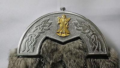 Men's Kilt Sporran Grey Rabbit Fur Celtic Cantle/Highland Kilt Sporran/kilt 2