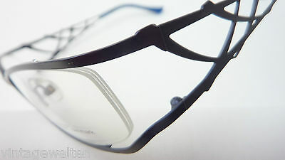 Brille Fassung Blau Seitlich Randlos Musterbügel Metall Damen Pro Design Size M Sonnenbrillen & Zubehör