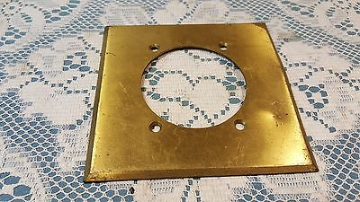 "Vintage Harvey Hubbell 4 1/2"" Brass Wall Plate 2 3/8"" hole 2"