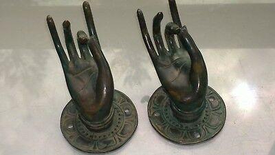 2 small Pull handle hands buddha brass green door aged style knob hook 6.5cm B 5