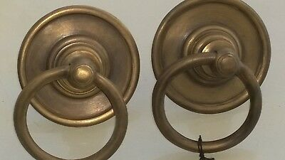 2 handle ring pull solid brass heavy old vintage asian style DOOR 7.5 cm bolt B 4