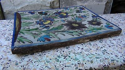 "ANTIQUE 18c-19c ARABIC ISLAMIC POTTERY GLAZED ""FLOWERS"" WALL PLAQUE 6"
