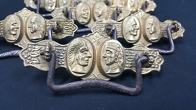 Architectural Salvage Brass Double Indian Head Design Drawer Pulls Set of 6