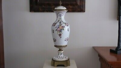 "18th Century 22"" Sevres Urn w/ Musical and Floral Motif. Sevres Mark, Initialed 9"