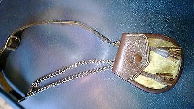Scottish Leather Cow Hide Pouch/Sporran Money purse chained strap 2