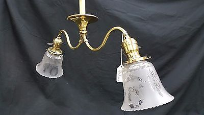 Antique Brass Ceiling Light Fixture Chandelier With Two Etched Glass Shades 7