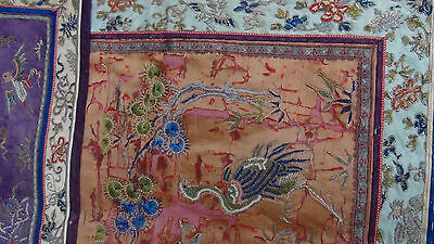 ANTIQUE 19c CHINESE FORBIDDEN STITCH POLICHROME SILK EMBROIDERY PHOENIX BANNER 9