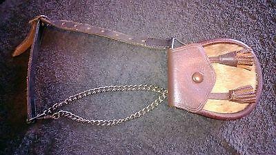 Scottish Leather Cow Hide Pouch/Sporran Money purse chained strap 4