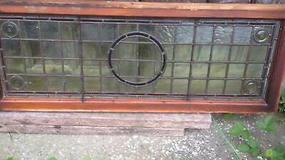 Architectural Antique Victorian Arts & Crafts Bullseye Leaded Glass Window Frame 2