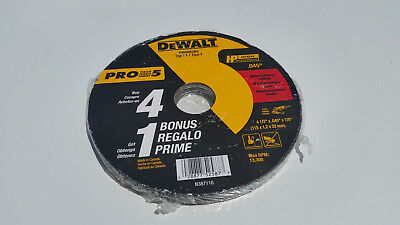 "DW8062B5 4.5/"" x 0.045/"" Dewalt 5 Pack Metal /& Stainless Cutting Wheel"