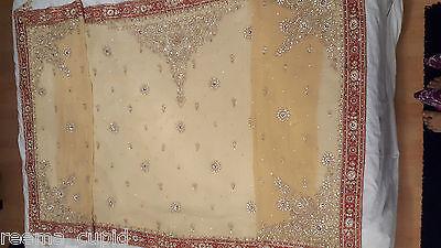 New Womens Cream Gold Maroon Wedding Dress Indian Pakistani Asian Small 7
