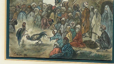 "Luigi Feerazi (Italy) 1876 Original Watercolor Orientalist Painting""cock Fightin 3"