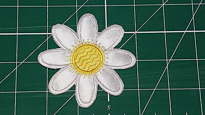 White/Yellow Flower (Iron On) Embroidery Applique Patch-Badge (Diameter - 84mm) 2