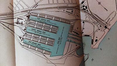 1910 Map of Port of London Authority Tilbury Docks England Tidal Basin 2