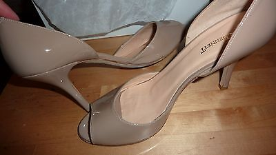 LK BENNETT UK 6 39 TAUPE Patent Beige Heels Peep Toe Courts Shoes LTD FAB RARE!! 2