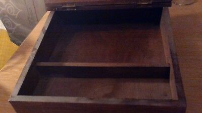 Antique Hardwood Slope Writing Desk With Very Rare Brass Inlay 8