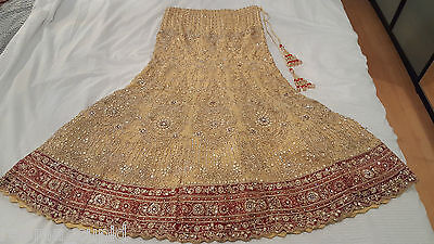 New Womens Cream Gold Maroon Wedding Dress Indian Pakistani Asian Small 3