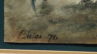 "Luigi Feerazi (Italy) 1876 Original Watercolor Orientalist Painting""cock Fightin 9"