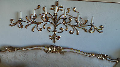Antique Original Gilded Gold & Metal  Wall Sconce Candle Holders 11