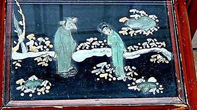 Set Of 4 Antique Chinese Painting & Stone,jade Imlayed Nesting Tables,glass Top 8