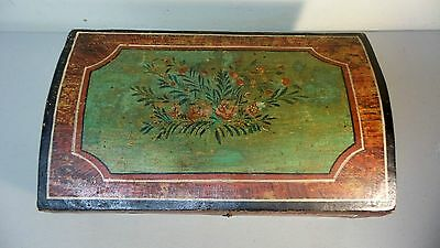 Great 19Th Century Hand Made Wooden Bride's Box, Dome Top, Original Paint 2