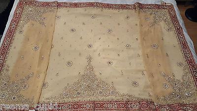 New Womens Cream Gold Maroon Wedding Dress Indian Pakistani Asian Small 9