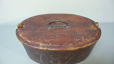 NICE 19TH CENTURY HAND MADE WOODEN NORWEGIAN BRIDE'S BOX PAINT, dated 1824 6