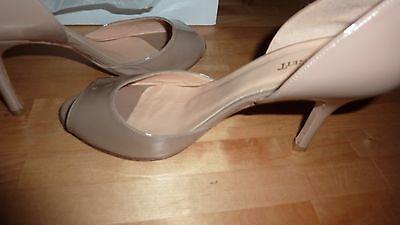 LK BENNETT UK 6 39 TAUPE Patent Beige Heels Peep Toe Courts Shoes LTD FAB RARE!! 4