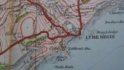"Ordnance Survey map 1"" Lyme Regis Sidmouth 1932 Bridport Axminster Ottery Beer 4"