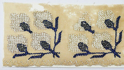 17-18C Antique Textile Fragment -Dyeing and Weaving, Embroidery, Flower Pattern
