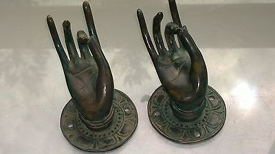 "2 Pull handle hands buddha brass antique green door age old style knob hook 3"" B 5"