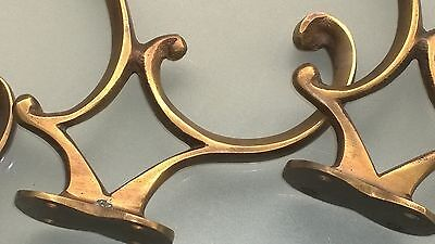 "4 COAT HOOKS CURVED door solid heavy solid brass furniture age old style 4"" B 3"