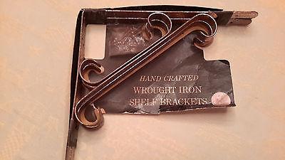 Pair Vintage Wrought Iron Shelf Brackets Circa 1950's Alligator Imprint On Brass 8
