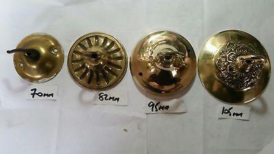 1 vintage ORNATE CEILING ROSE 86mm French chandelier hook OLD Cast brass c1950 7