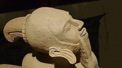 KHMER SANDSTONE TEMPLE PILLAR STONE STATUE VISIONARY HERMIT 'PHRA LERSI', 18th C