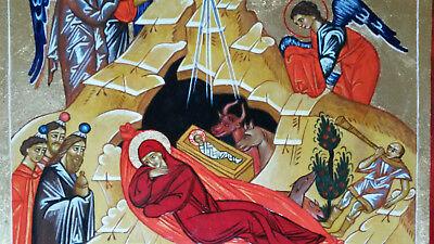 Weihnachten Orthodox.Jesus Geburt Handgemalte Ikone Icon Orthodox Maria Weihnachten Christmas