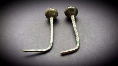 Two Ancient Luristan Bronze Garment Pins with circular finials 2nd Millennium BC 4