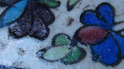 "ANTIQUE 18c-19c ARABIC ISLAMIC POTTERY GLAZED ""FLOWERS"" WALL PLAQUE 8"